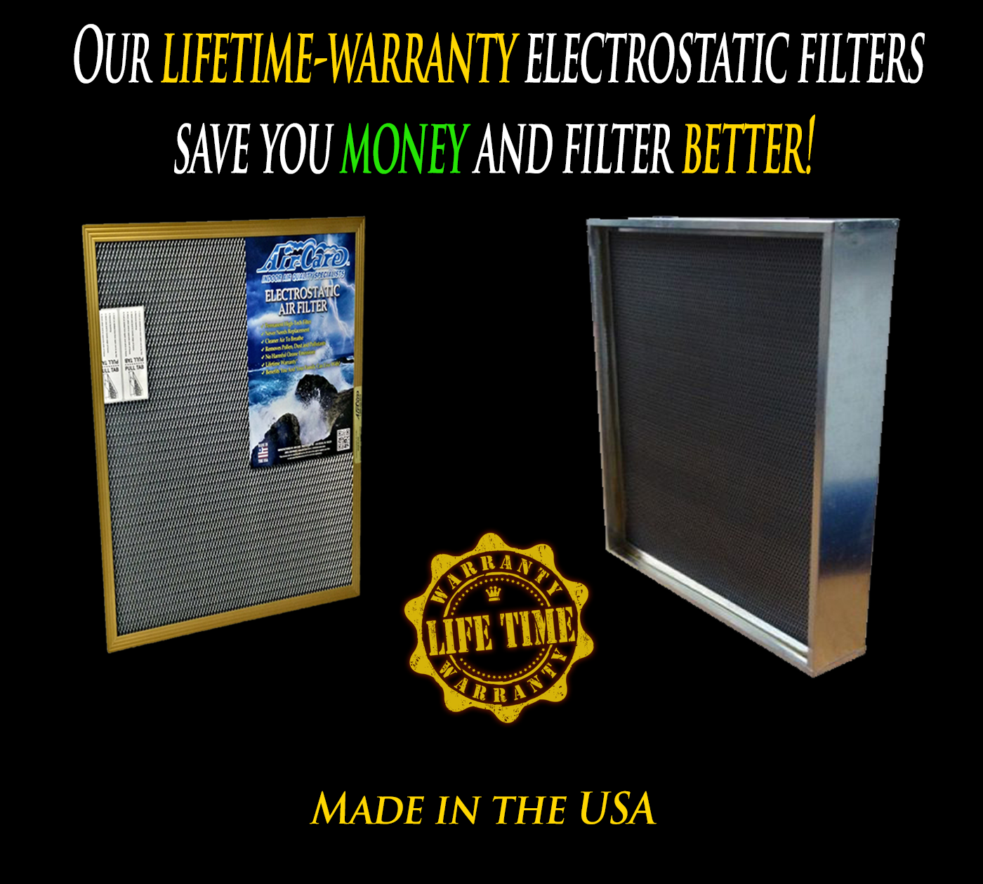 Our electrostatic filters save you money!